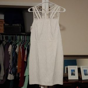 White damask with mesh panel dress